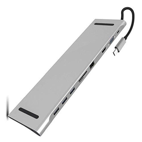 BAOZUPO USB-C a VGA HDMI Mini DisplayPort Ethernet 3 HUB TF TF SD Lector de Tarjetas Multipuerto Adaptador 11 en 1