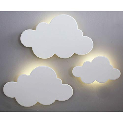 Kit 3 Peças Nuvens Luminárias MDF Branca com LED de Luz Quente