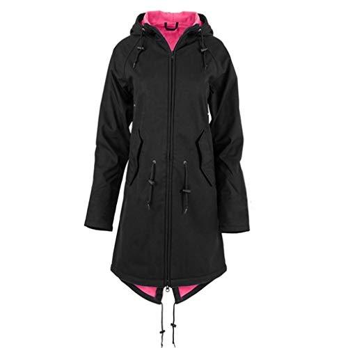 iHENGH Damen Frühling Herbst Mantel bequem Solide Regenjacke Outdoor Jacken mit Kapuze Regenmantel Winddicht Parka Coat(Schwarz-4, 3XL)