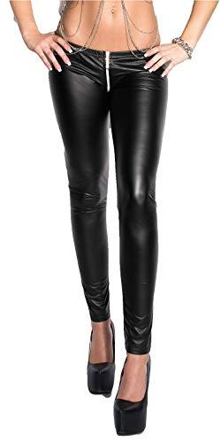krautwear Damen Leggings Sexy Wetlook Leggin mit Zweiwege Reißverschluss im Schritt (Zipper) Ouvert Low Waist Skinny Gogo Clubwear Party...