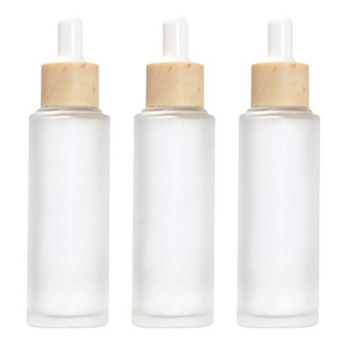 Minkissy 3Pcs Flacons Compte-Gouttes en Verre Flacons Compte-Gouttes Givré Flacons Compte-Gouttes de Parfum Bouteilles D'huile Essentielle Rechargeables avec Compte-Gouttes 50 ML Transparent