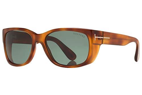 Tom Ford FT0441 Carson zonnebril Blond Havana met groene lens 53N TF0441