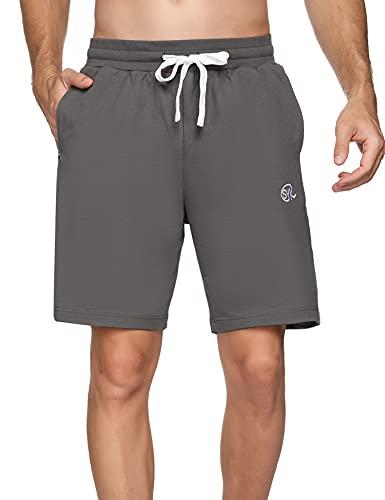 Sykooria Pantalones Cortos Hombre Deporte 100% Algodón Verano con 3 Bolsillo Pantalón Corto Hombre para Running Fitness Gym Tennis,Gris,XXL