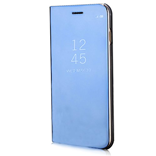 XINYIYI Miroir Coque pour Huawei Mate 10 Pro Bleu, Housse Étui en PU Cuir Flip Case, Luxe Electro Placage Texture avec Clear View Design Bumper Dur PC Backcover Ultra Slim Protector Stand Fonction
