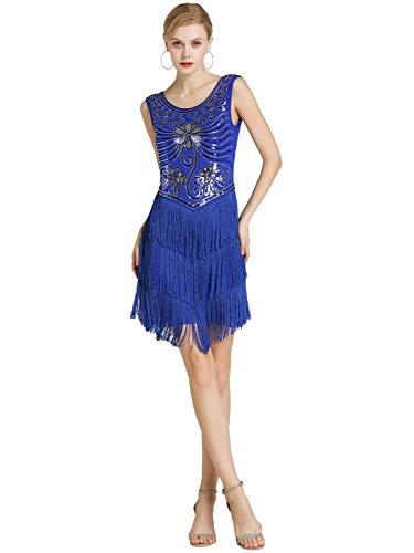 Kaiyei Latin Dance Kleid Frauen/Mädchen/Dame Neue Sexy Fringe Salsa/Ballsaal/Tango/Cha cha/Rumba/Samba/Latin Kleider Für Tanzen Saphir M
