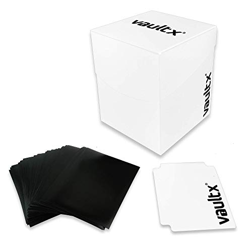 Vault X Deck Box and 150 Black Card Sleeves - Large Size for 120-130 Sleeved Cards - PVC Free Card Holder for TCG (White) (Most Red Cards In A Football Game)
