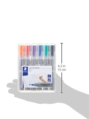 Staedtler Lumocolor Flipchart Marker 356 WP6 ST Bullet Tip - Assorted Colours (Pack of 6)