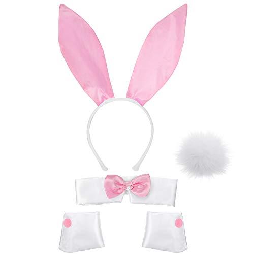 Frauen Hasen Zubehör Set Kaninchenohr Stirnband Kragen Fliege Kostüm Manschetten Kaninchen Schwanz für Halloween Weihnachten Kostüm Cosplay Party (Rosa und Weiß)