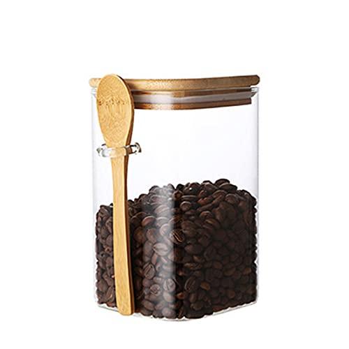 Qagazine Klart glasförvaringsbehållare med bambusked fyrkantig form lätt att hand förseglad behållare hållbar bekväm för hemmakök