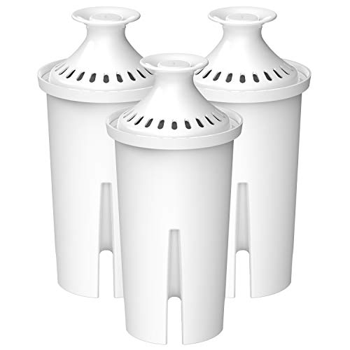 AQUA CREST NSF, TÜV SÜD Certified Pitcher Water Filter, Replacement for Brita Filters, Pitchers, Dispensers, Compatible with Brita Classic OB03, Mavea 107007, 35557, and More (Pack of 3)