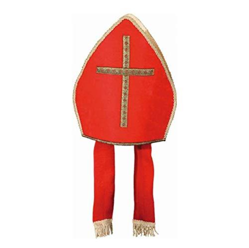 Mütze: Bischofsmütze, rot mit goldenem Kreuz