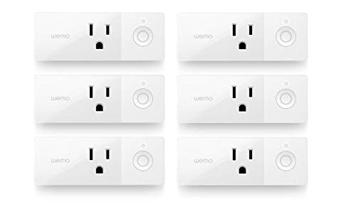 Wemo Mini Smart Plug (6-Pack), Wi-Fi Enabled, Compatible with Alexa and Google Home (F7C063-RM2) (Renewed)