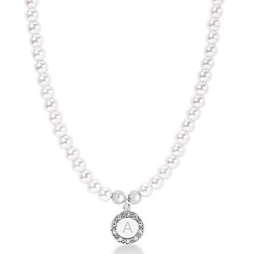 GRACE Collana di tipo girocollo in perle con lettera pendente in argento color rodio (E)