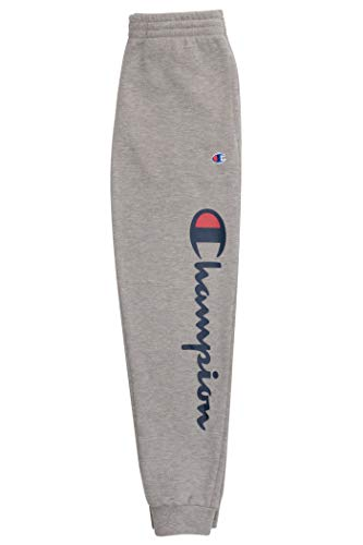 Champion Boys Sweatpant Heritage Collection Slim Fit Brushed Fleece Big and Little Boys Kids (Large, Oxford Heather Script)
