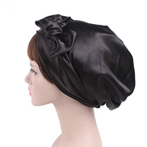 WATERMELON Femmes Souple en Satin de Soie Bonnet Bonnet Bonnet Salon Nuit Cheveux Chapeau for Cheveux bouclés Naturel Nuit de Sommeil Cap Tresses Head Couverture Wrap (Color : Black Flower)