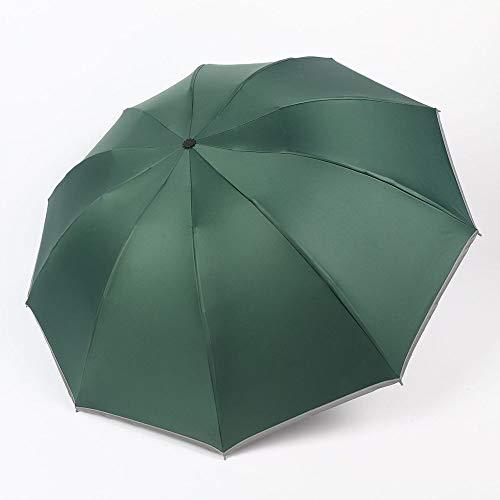 Anyi Einfache Automatische Regenschirm-Außen Sonne Und Regen Dual-Use-Sonnenschirm 10 Knochen Reverse-Regenschirm Großer Regenschirm Sonnenschutz (Dunkelgrün)