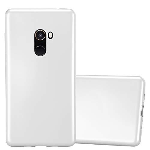 Cadorabo Hülle für Xiaomi Mi Mix 2 in METALLIC Silber - Handyhülle aus flexiblem TPU Silikon - Silikonhülle Schutzhülle Ultra Slim Soft Back Cover Hülle Bumper
