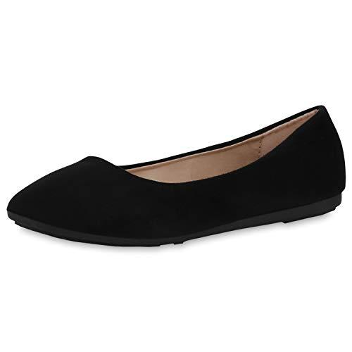 SCARPE VITA Damen Klassische Ballerinas Slip On Schuhe Wildleder-Optik Flats Flache Abendschuhe Slipper 191328 Schwarz Black Total 38