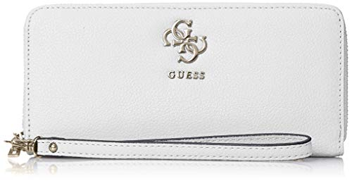 Guess Digital SLG Large Zip Around, Portafoglio Donna, Nero (White), 21x10x2 cm (W x H x L)
