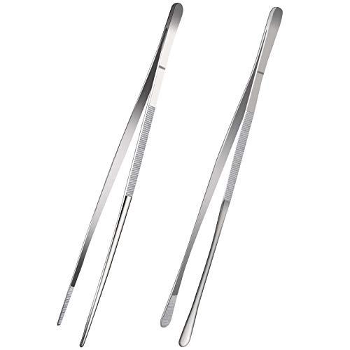 12-Inch Fine Tweezer Tongs,Extra-Long Stainless Steel kitchen Tweezers Tongs culinary tweezers set,tweezers for food cooking forceps, 2 Pack