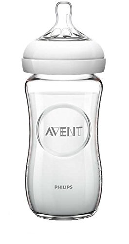 Philips Avent SCF673/17 - Biberón de cristal, tetina suave y flexible, anticólicos, 240 ml, color transparente