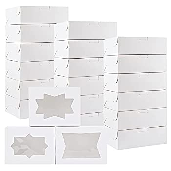 Kucoele 30pcs Cookie Boxes with Window White Bakery Treat Boxes Loaf for Cupcakes Cookies Candies and Pastries 8 x 6 x 2.5 Inches