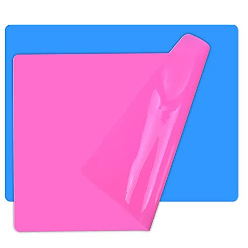 2pcs Alfombrilla Silicona, 40 x 30 cm Láminas de Silicona para Horno, Antiadherentes Mantel Silicona Tapete, A3 Grandes Esteras de Silicona Hornear para Moldes de Resina Epoxi, Cocina (Azul + Rosa)