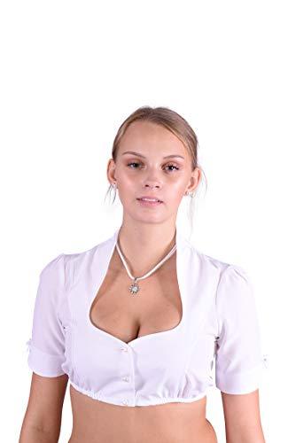 Golden Trachten Dirndlbluse Trachtenbluse Kurzärmig Stehkragen weiß (38)