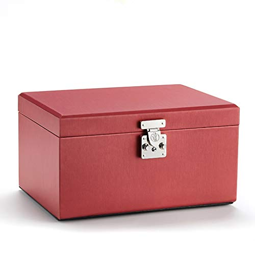 Weimingshop Large-capacity Jewelry Box, Four Layers, with Lock, with Mirror, Mercerized Fabric, Pearl Flannel, Used for Necklaces, Rings, Watches, (Color : Red)