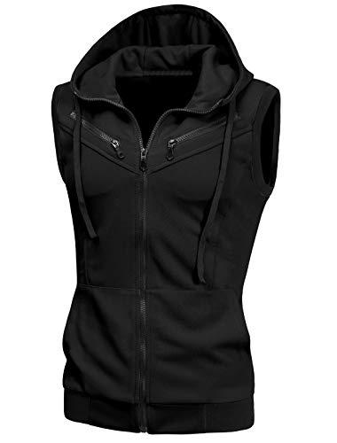 uxcell Men's Sleeveless Slim Fit Hoodie Vest Zipper Drawstring Gilet Jacket with Pockets Black 46