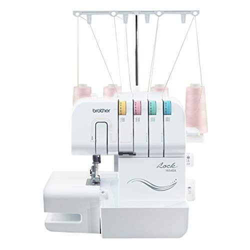 Brother Serger, 1034DX, Durable Metal Frame Overlock Machine 1,300 Stitches Per Minute, Trim Trap, 3 Accessory Feet and Protective Cover Included