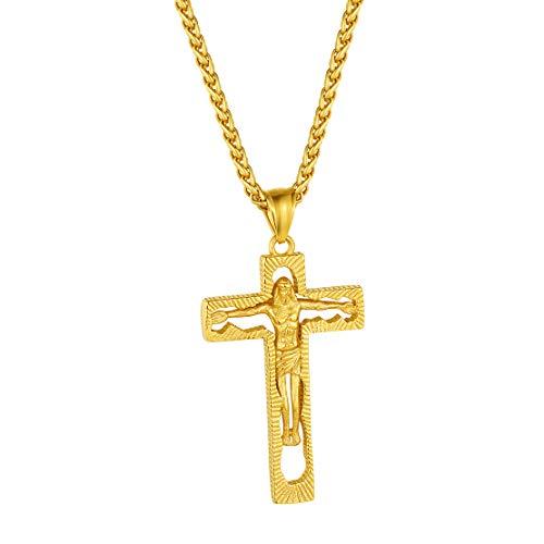 FindChic 十字架 クロス ネックレス ペンダントトップ メンズ ゴールド 18金 k18 イエス様 キリスト かっこいい お守り アクセサリー