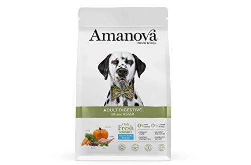 Amanova Cibo Secco Super Premium per Cani Adulti con Stomaco sensibile Gusto Coniglio - 100% Naturale, ipoallergenico e monoproteico - Grain Free - Cruelty Free - Formato da 10 kg