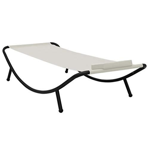 Festnight Gartenbett Gartenliege Gartenmöbel Set Liegeinsel Sonnenliege mit Kissen Creme 200 x 90 cm Stahl
