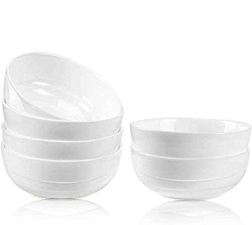DANMERS 18 Ounces White Bowl Set, Cereal, Soup, Salad Bowls Service for 6, Lightweight Bowl 5.5'' Gift Pack