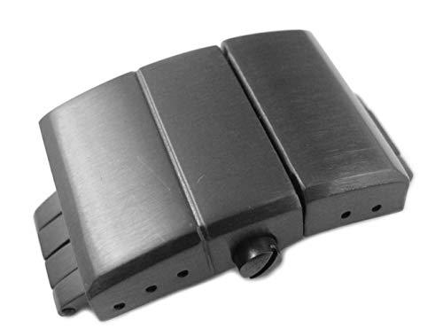 20mm Correa de reloj de acero inoxidable sólido negro despliegue Ulysse Nardin estilo repuesto