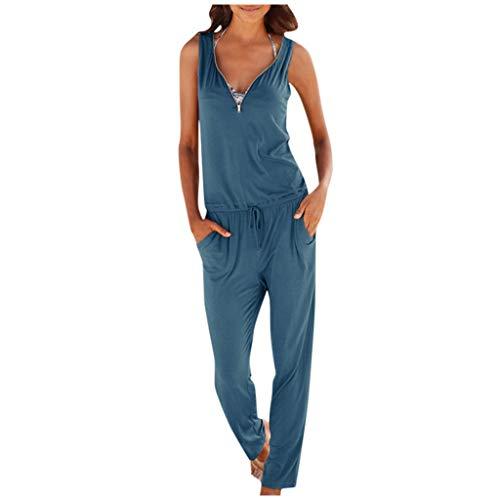 Briskorry Mono de mujer con cuello en V, sin mangas, holgado, de algodón, con bolsillos, elegante pernera ancha, holgado, holgado, estilo retro