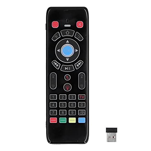 Control remoto universal, entrada de voz inalámbrica con mouse remoto, control manual Dispositivo de control de TV con teclado retroiluminado de 2.4G, para la mayoría de televisores inteligentes, caja