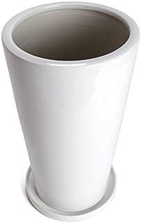 鉢 KANEYOSHI 陶器 植木鉢 鉢カバー ホワイト 23cm 7号 【皿付】