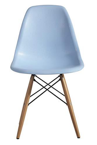 ST004 azul Silla patas madera y asiento PP azul estilo nórdico para comedor, cocina , balcón , terraza interior,habitación juvenil, dormitorio, hostelería. Pack 4 unidades