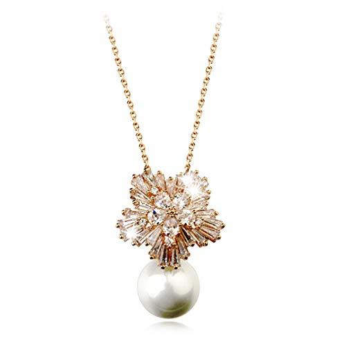 Qiyun.z Collar de perlas Joyas de plata esterlina Collares pendientes para mujer Regalo de fiesta Oro rosa
