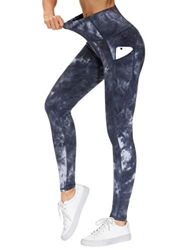THE GYM PEOPLE Thick High Waist Yoga Pants with Pockets, Tummy Control Workout Running Yoga Leggings for Women (X-Large, Tie Dye Black Grey)