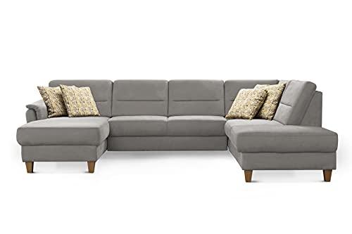 CAVADORE Wohnlandschaft Palera / Federkern-Sofa in U-Form im Landhausstil / 314 x 89 x 212 / Mikrofaser-Bezug, Hellgrau