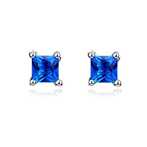 GXJ Llamativo Pendientes de Cristal Azul, hipoalergénico 925 Plata esterlina, Mujeres, niñas, Esposa, Amigas, Nuevo diseño para 2021 Exquisito