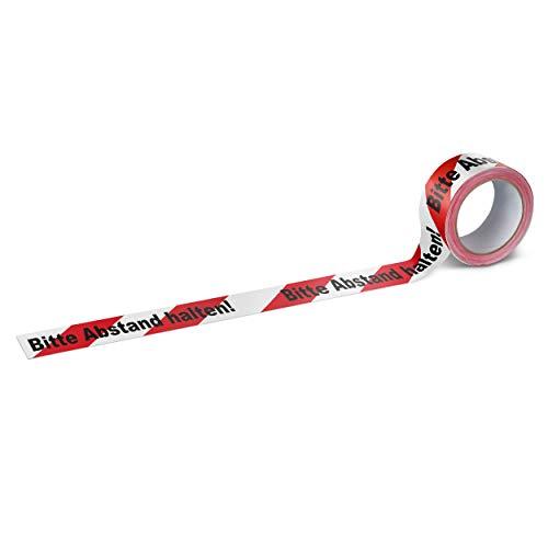 Warnband Klebeband Packband Bitte Abstand halten 1 Rolle weiß mit schwarz-rotem Druck - 50 mm breit x 66 m lang - 3
