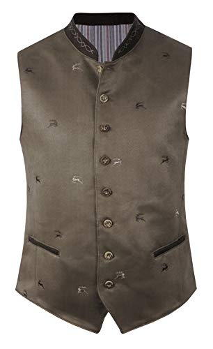 Moschen-Bayern Chaleco para traje regional para hombre, para boda, Oktoberfest, color marrón Marrón corzo y marrón oscuro. 52