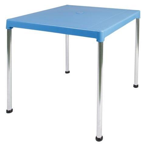 Garden Life 4026-04 Tablero de Resina y Patas Aluminio, Azul, 70x70x13 cm
