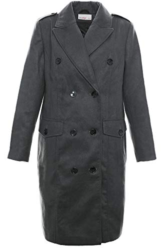 Sheego Kurzmantel Mantel Wintermantel Gehrock Jacke Damen Wolloptik Plusgröße, Farbe:dunkelgrau, Damengrößen:52