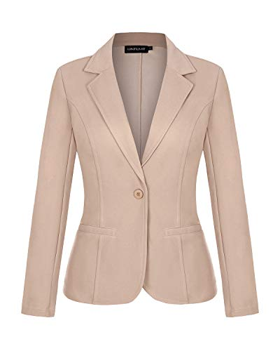 MINTLIMIT Blazers for Women Casual Long Sleeve Open Front Cardigan Work Office Blazers Jacket with Pockets (Khaki, Medium)