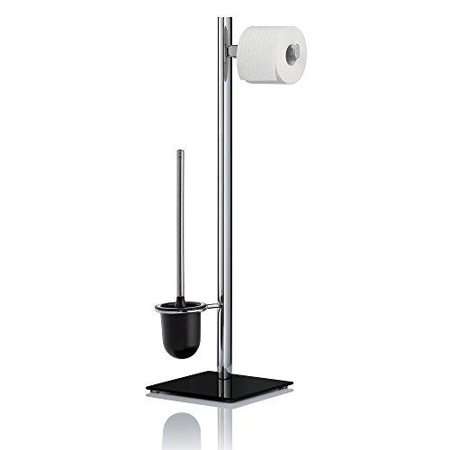 kela 20038 Set WC Support Papier Toilette + Brosse, métal chromé et Verre Noir, Amatis, 22x22x76 cm